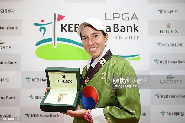 Carlota Ciganda of Spain with a Rolex watch after winning the LPGA KEBHana Bank Championship at the Sky 72 Golf Club Ocean Course on October 16 2016...