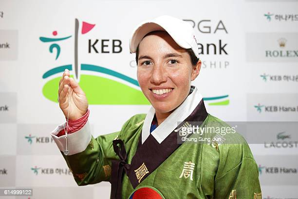 Carlota Ciganda of Spain with a Tiffany neckless after winning the LPGA KEBHana Bank Championship at the Sky 72 Golf Club Ocean Course on October 16...