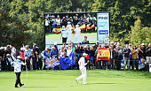 Carlota Ciganda of team Europe celebrates during the morning foursomes matches at The Solheim Cup at St LeonRot Golf Club on September 19 2015 in St...