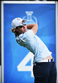 Carlota Ciganda of team Europe plays a shot during the afternoon fourball matches at The Solheim Cup at St LeonRot Golf Club on September 18 2015 in...