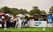 Carlota Ciganda of team Europe plays a shot during the continuation of the afternoon fourball matches at The Solheim Cup at St LeonRot Golf Club on...