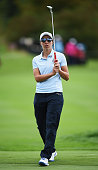 Carlota Ciganda of team Europe reacts to a putt during the afternoon fourball matches at The Solheim Cup at St LeonRot Golf Club on September 18 2015...