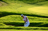 Carlota Ciganda of the European Team plays her third shot on the 16th hole in her match with Azahara Munoz against Cristie Kerr and Lexi Thompson of...