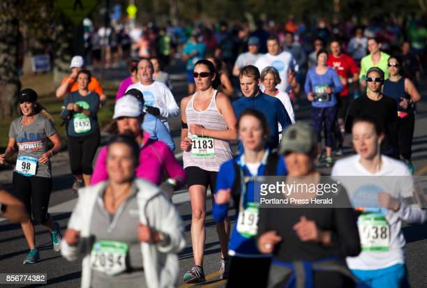 Carlota Dao of Boston competes in the half marathon during the Maine Marathon in Portland on Sunday October 1 2017