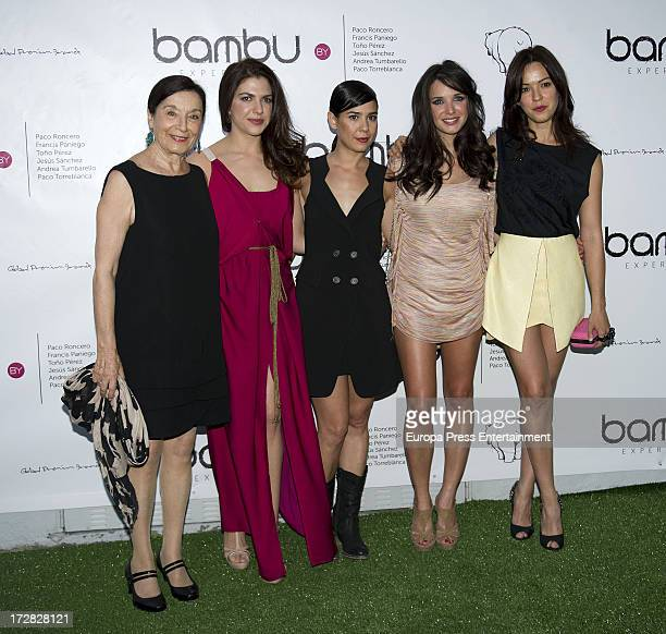 Carlota Olcina Paula Prendes and Veronica Sanchez attend Bambu Producciones anniversary party at Shoko Nightclub on July 4 2013 in Madrid Spain