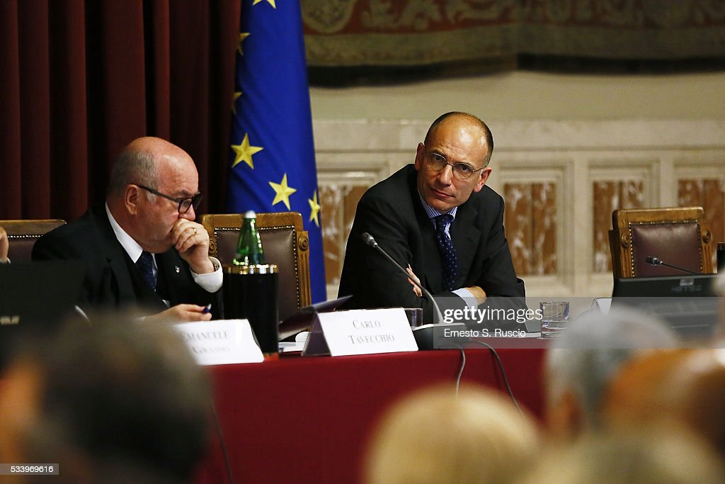 CarloTavecchio and <a gi-track='captionPersonalityLinkClicked' href=/galleries/search?phrase=Enrico+Letta&family=editorial&specificpeople=2915592 ng-click='$event.stopPropagation()'>Enrico Letta</a> attend the Italian Football Federation Annual Report at Palazzo Montecitorio on May 24, 2016 in Rome, Italy.