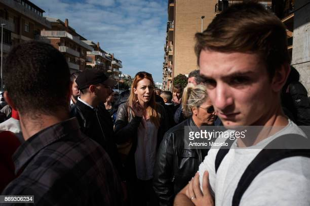 Carlotta Chiaraluce candidate for the presidency of the Ostia's city hall for Casapound speaks with the residents during the protest against the...