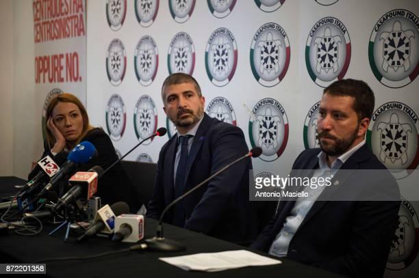 Carlotta Chiaraluce Simone Di Stefano and Luca Marsella speak during a press conference on November 9 2017 in Rome Italy CasaPound farright political...