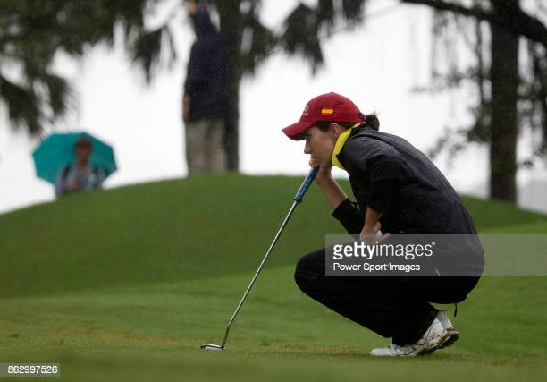 Carlotta Ciganda of Spain lines up a putt on the fourth hole during day one of Swinging Skirts LPGA Taiwan Championship on October 19 2017 in Taipei...