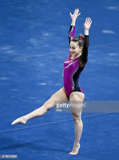 Carlotta Ferlito of Italy competes in the floor exercise during the 2016 ATT American Cup on March 5 2016 at Prudential Center in Newark New Jersey