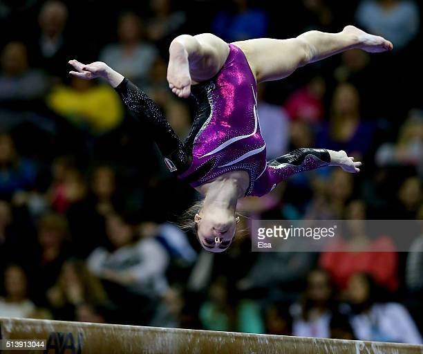Carlotta Ferlito of Italy competes on the beam during the 2016 ATT American Cup on March 5 2016 at Prudential Center in Newark New Jersey