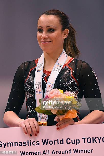 Carlotta Ferlito of Italy poses on the podium in the Women's All Around Final during Gymnastics Tokyo World Cup 2014 at Tokyo Metropolitan Gymnasium...