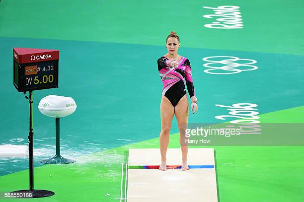 Carlotta Ferlito of Italy prepares to compete on the vault during the Women's Individual All Around final on Day 6 of the 2016 Rio Olympics at Rio...
