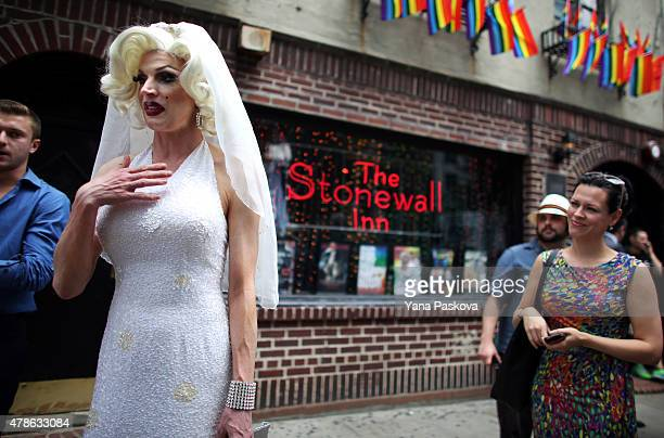Carlotta Gurl a gay rights activist from Vancouver Canada chats outside of the Stonewall Inn an iconic gay bar recently granted historic landmark...