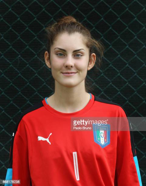 Carlotta Scarcella poses during the Italy women's futsal U17 official headshots portrait session on October 30 2017 in Rome Italy