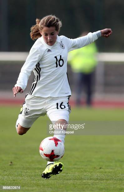 Carlotta Wamser of Germany runs with the ball during the International Friendly match between Germany U15 Girls and United States U15 Girls at...