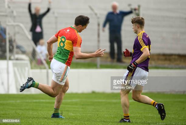 Carlow Ireland 21 May 2017 Brendan Murphy of Carlow celebrates after scoring his side's second goal of the game during the Leinster GAA Football...