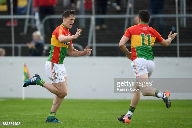 Carlow Ireland 21 May 2017 Brendan Murphy of Carlow celebrates with Darragh Foley after scoring his side's second goal of the game during the...