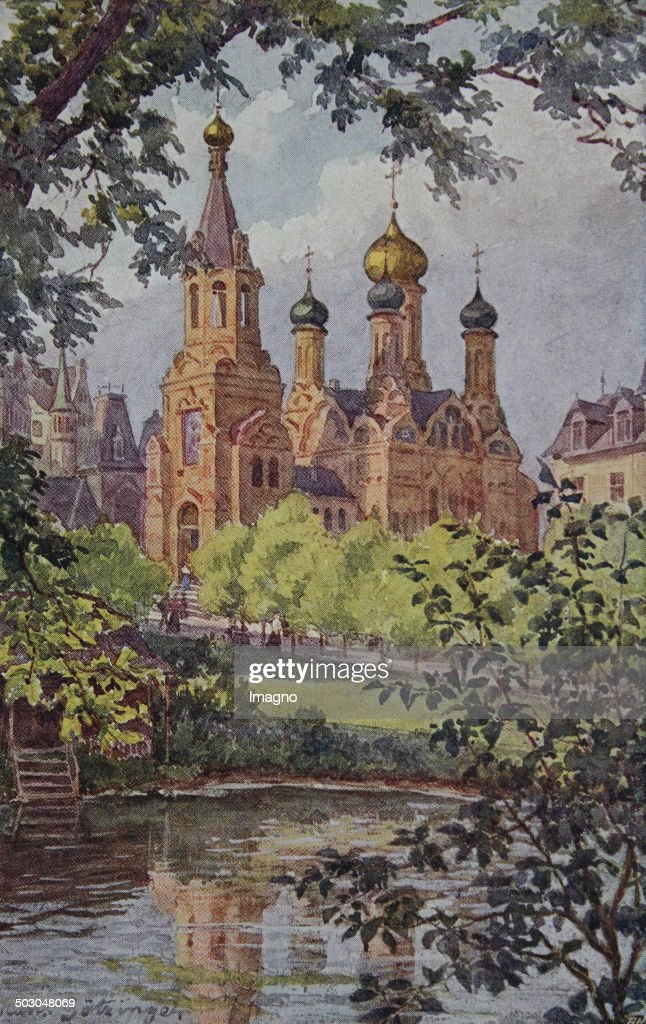 Carlsbad Russische Kirche Westend About 1910 Artist postcard based on a drawing by Hans Götzinger Colour postcard Book printing