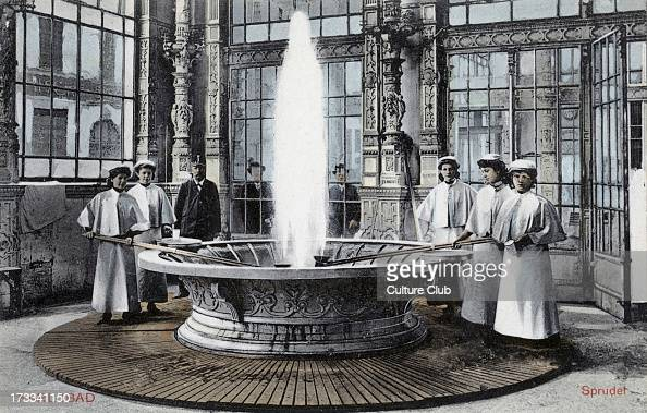 Carlsbad spa fountain c 1910 Bohemia Austro Hungary Known as Karlovy Vary in Czech Spa city