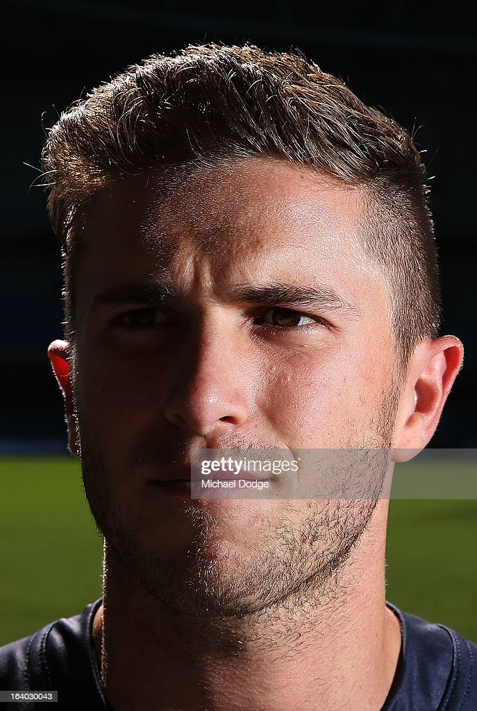 Carlton Blues Captain Marc Murphy looks ahead during the AFL Captains media Day at Etihad Stadium on March 19, 2013 in Melbourne, Australia.