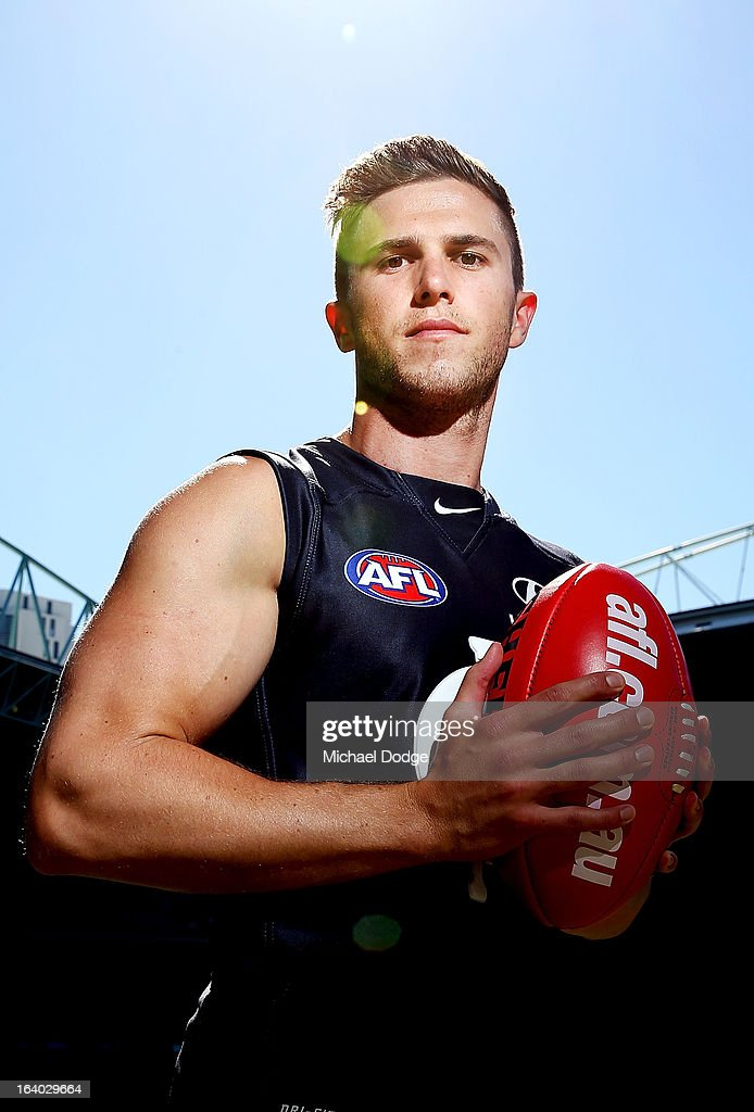 Carlton Blues Captain <a gi-track='captionPersonalityLinkClicked' href=/galleries/search?phrase=Marc+Murphy+-+Australian+Rules+Football+Player&family=editorial&specificpeople=545927 ng-click='$event.stopPropagation()'>Marc Murphy</a> poses during the AFL Captains media Day at Etihad Stadium on March 19, 2013 in Melbourne, Australia.