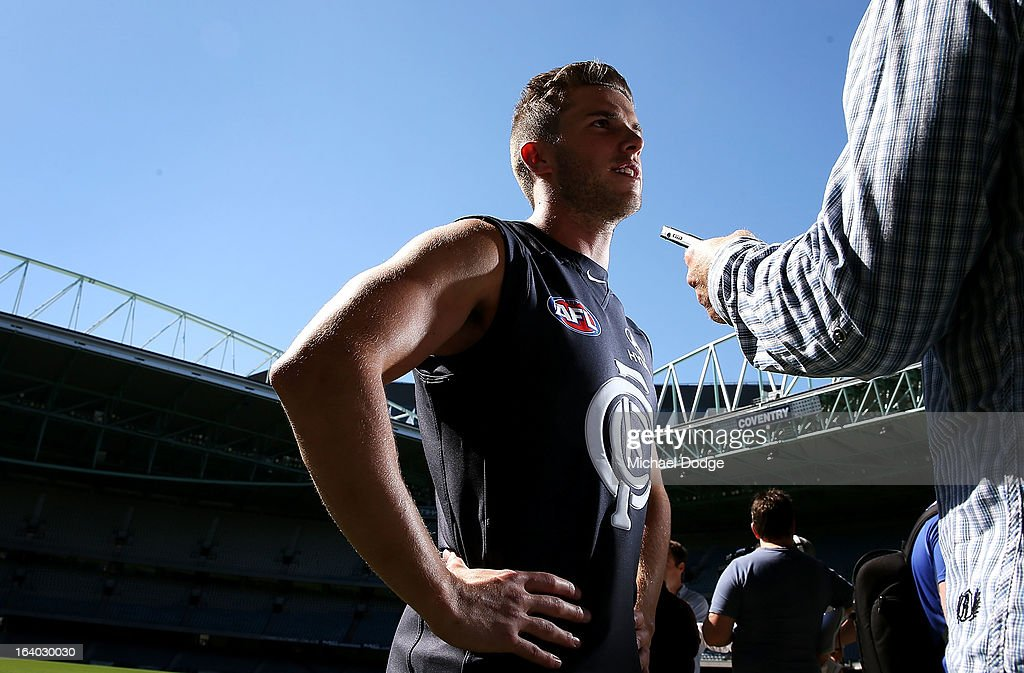 Carlton Blues Captain Marc Murphy talks to the media during the AFL Captains media Day at Etihad Stadium on March 19, 2013 in Melbourne, Australia.