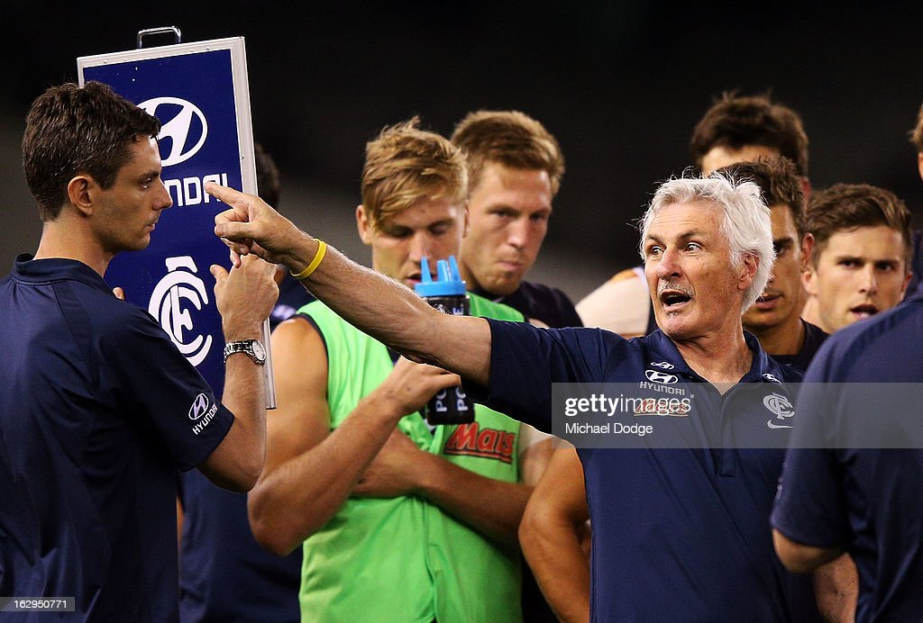 Carlton Blues coach <a gi-track='captionPersonalityLinkClicked' href=/galleries/search?phrase=Michael+Malthouse&family=editorial&specificpeople=217321 ng-click='$event.stopPropagation()'>Michael Malthouse</a> gestures to a player during the round two AFL NAB Cup match between the Carlton Blues and the Fremantle Dockers at Etihad Stadium on March 2, 2013 in Melbourne, Australia.