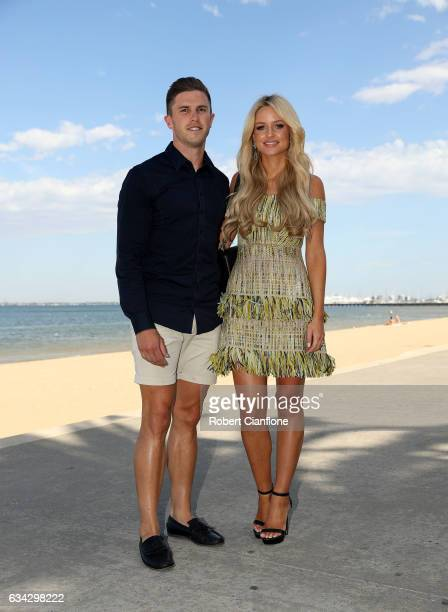 Carlton Blues footballer Marc Murphy poses with his wife Jessie Murphy during the Festival of Racing Media Launch at the St Kilda Beach Pontoon on...