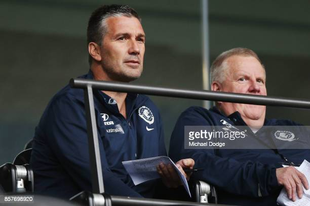 Carlton Blues recruiter Stephen Silvagni looks on during the AFL Draft Combine at Etihad Stadium on October 5 2017 in Melbourne Australia