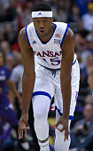 Carlton Bragg Jr #15 of the Kansas Jayhawks celebrates a shot against the Kansas State Wildcats in the first half during the quarterfinals of the Big...
