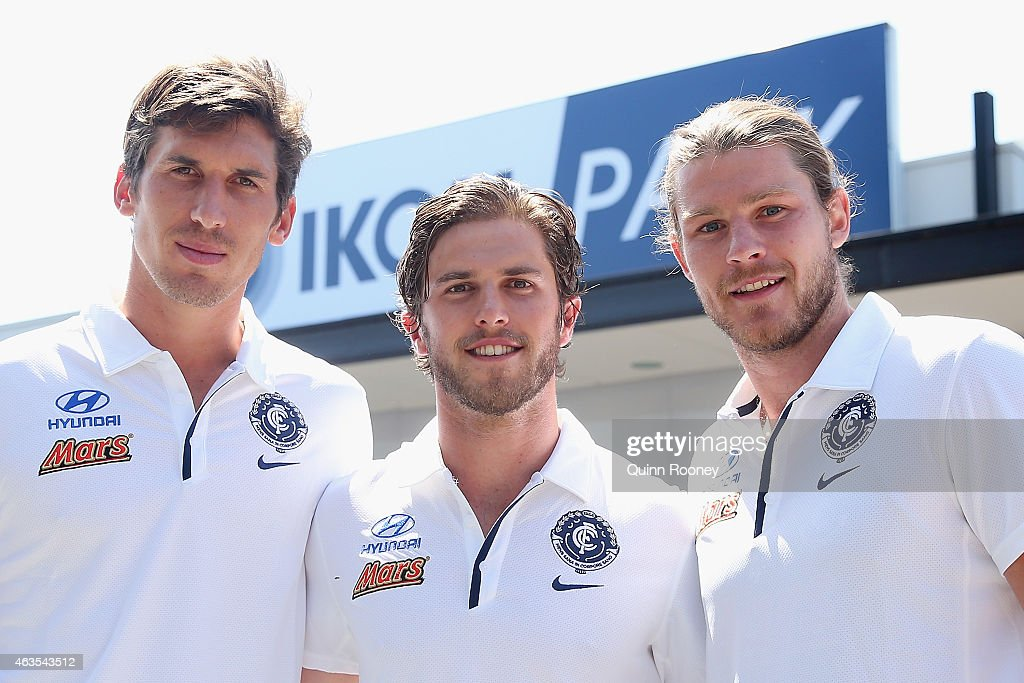 Carlton captain Marc Murphy (C) poses with his vice captains Michael Jamison (L) and Bryce Gibbs (R) during a Carlton Blues AFL media session at Ikon Park on February 16, 2015 in Melbourne, Australia.