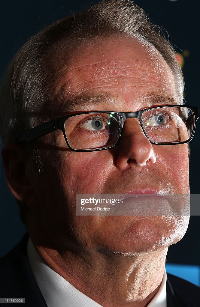 Carlton CEO Steven Trigg speaks to the media after the sacking of Blues head coach Michael Malthouse during a Carlton Blues AFL press conference at Ikon Park on May 26, 2015 in Melbourne, Australia.