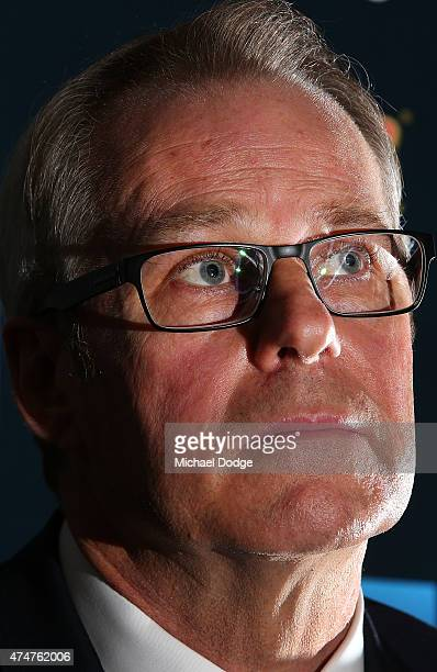 Carlton CEO Steven Trigg speaks to the media after the sacking of Blues head coach Michael Malthouse during a Carlton Blues AFL press conference at...