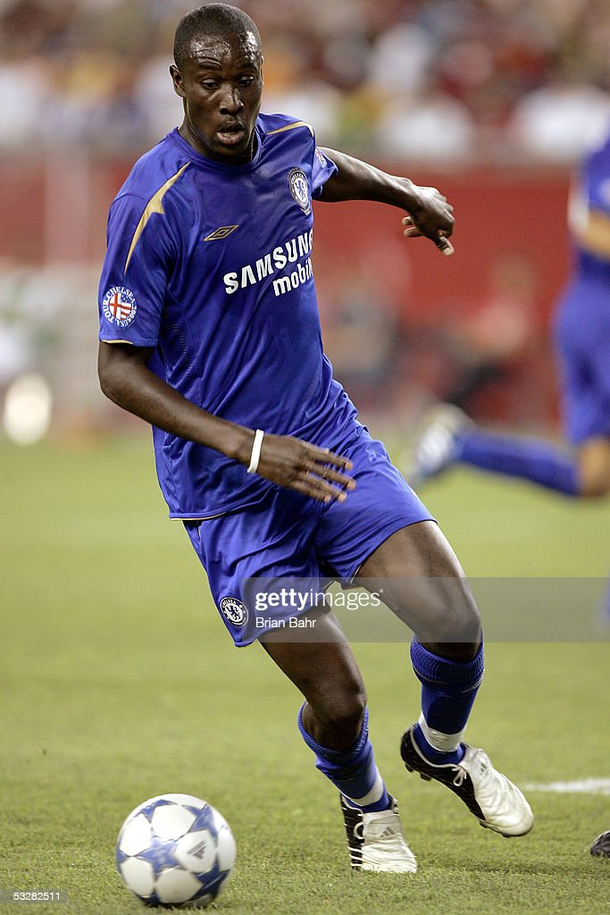 Carlton Cole #12 of Chelsea FC advances the ball against AC Milan in the second half of their World Series of Football friendly match on July 24, 2005 at Gillette Stadium in Foxboro, Massachusetts.