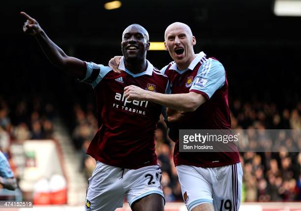 Carlton Cole of West Ham celebrates after scoring his team's second goal of the game during the Barclays Premier League match between West Ham and...