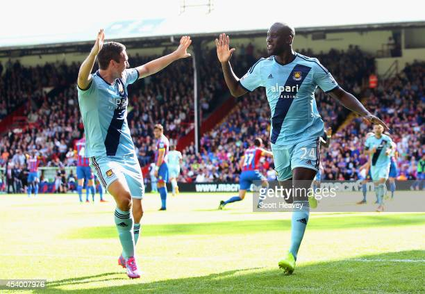 Carlton Cole of West Ham celebrates scoring his team's third goal during the Barclays Premier League match between Crystal Palace and West Ham United...