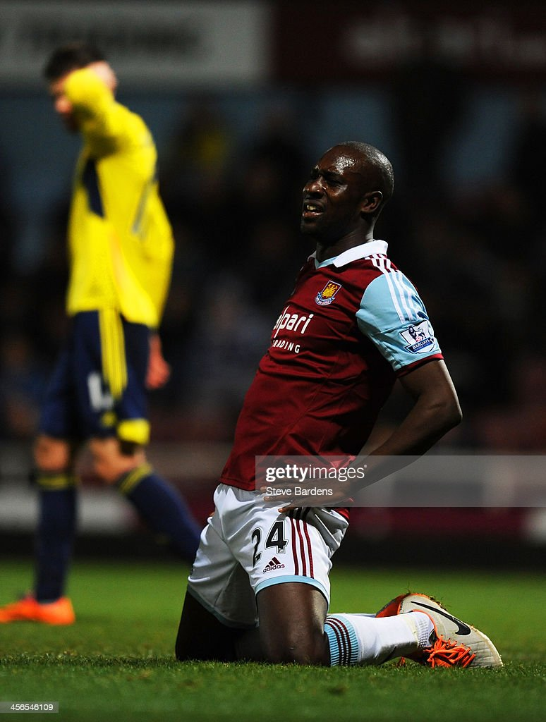 <a gi-track='captionPersonalityLinkClicked' href=/galleries/search?phrase=Carlton+Cole&family=editorial&specificpeople=215313 ng-click='$event.stopPropagation()'>Carlton Cole</a> of West Ham reacts after a missed chance on goal during the Barclays Premier League match between West Ham United and Sunderland at Boleyn Ground on December 14, 2013 in London, England.
