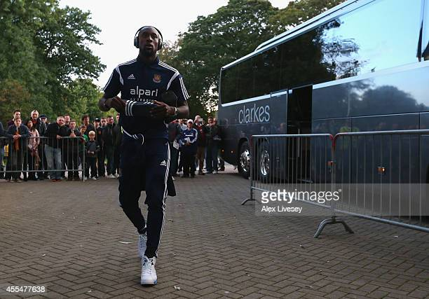 Carlton Cole of West Ham United arrives at the KC Stadium prior to the Barclays Premier League match between Hull City and West Ham United at KC...