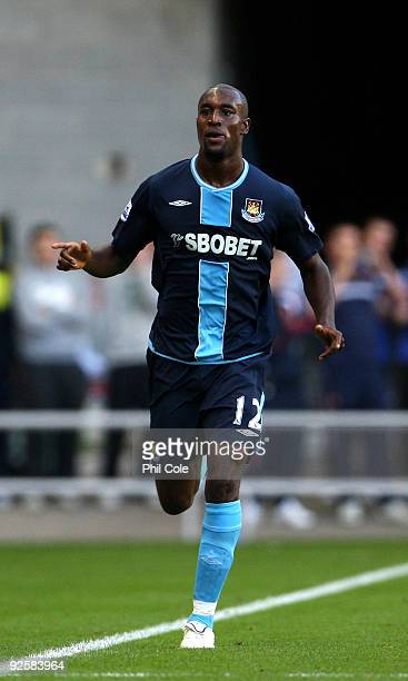 Carlton Cole of West Ham United celebrates his goal during the Barclays Premier League match between Sunderland and West Ham United at Stadium of...