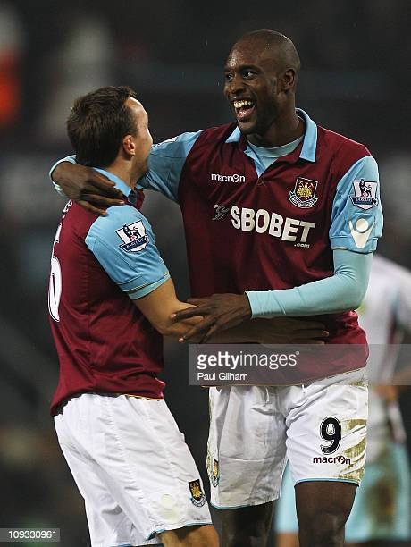 Carlton Cole of West Ham United celebrates his second goal with Mark Noble during the FA Cup sponsored by EON 5th Round match between West Ham United...