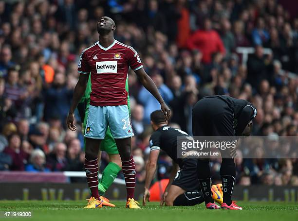 Carlton Cole of West Ham United reacts during the Barclays Premier League match between West Ham United and Burnley at the Boleyn Ground on May 2...