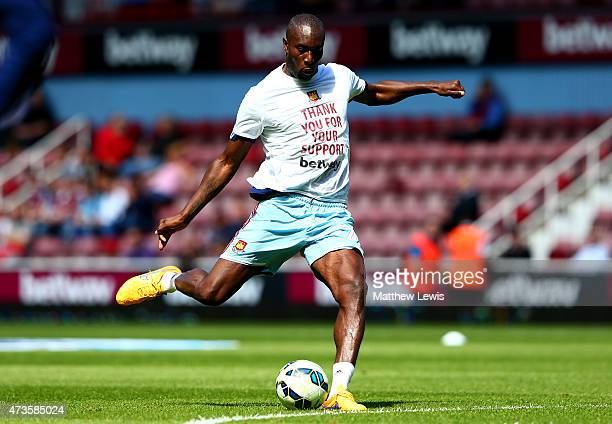 Carlton Cole of West Ham warms up during the Barclays Premier League match between West Ham United and Everton at Boleyn Ground on May 16 2015 in...