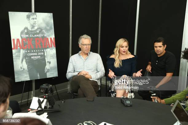 Carlton Cuse Abbie Cornish and Graham Roland attend Amazon Prime Video's Tom Clancy's Jack Ryan Comic Con 2017 Press Room at The Jacob K Javits...