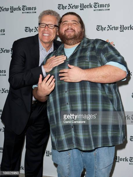 Carlton Cuse and Jorge Garcia attend The New York Times' TimesTalk with the creators of ABC's 'Lost' at TheTimesCenter on May 20 2010 in New York City