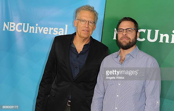 Carlton Cuse and Ryan Condal arrive at the 2016 Winter TCA Tour NBCUniversal Press Tour Day 2 at Langham Hotel on January 14 2016 in Pasadena...