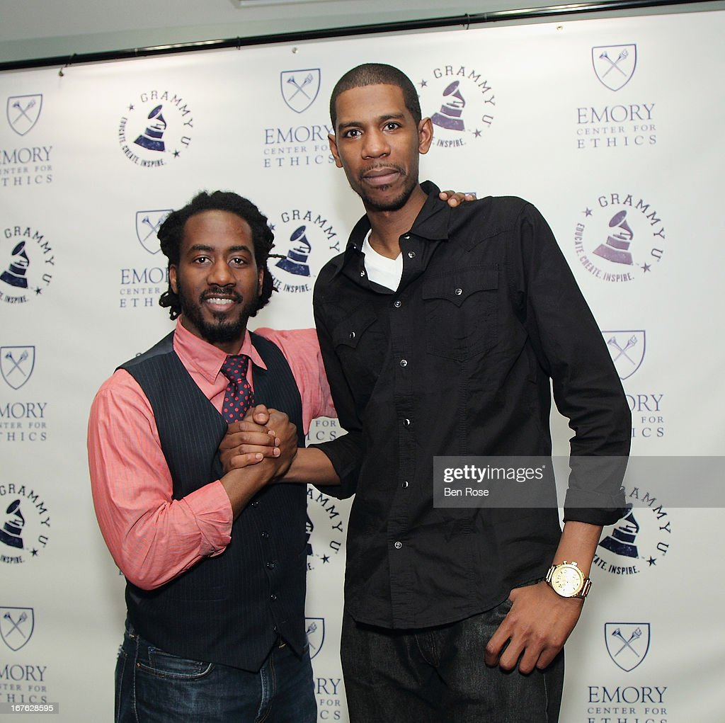 Carlton D. Mackey and audio engineer Young Guru pose during GRAMMY U Presents: Era of the Engineer at Emory University Center for Ethics on April 26, 2013 in Atlanta, Georgia.