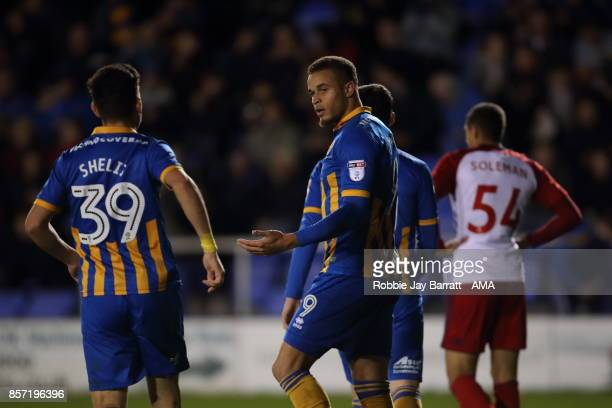 Carlton Morris of Shrewsbury Town celebrates after scoring a goal to make it 20 during the EFL Checkatrade Trophy Northern Section Group B game...