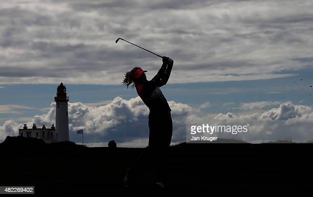 Carly Booth of England plays an approach shot during a practise round ahead of the Ricoh Women's British Open on the Ailsa Course at Trump Turnberry...