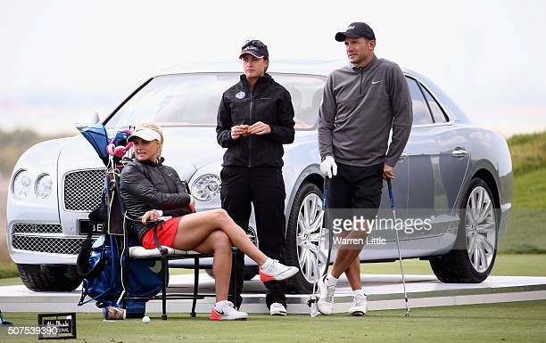 Carly Booth of Scotland Amy Boulden of Wales and Andriy Shevchenko former International footballer prepare to tee off on the eighth holeduring the...